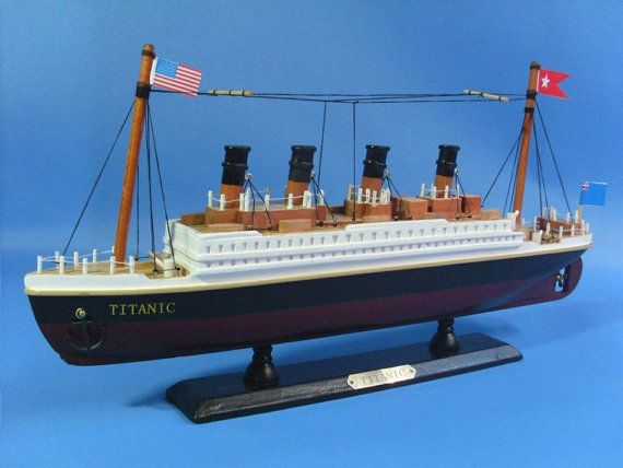 "Wooden Titanic Model Boat / Adorable 14"" Replica Cruise Ship Titanic Movie Memorabilia on Etsy, $39.00"