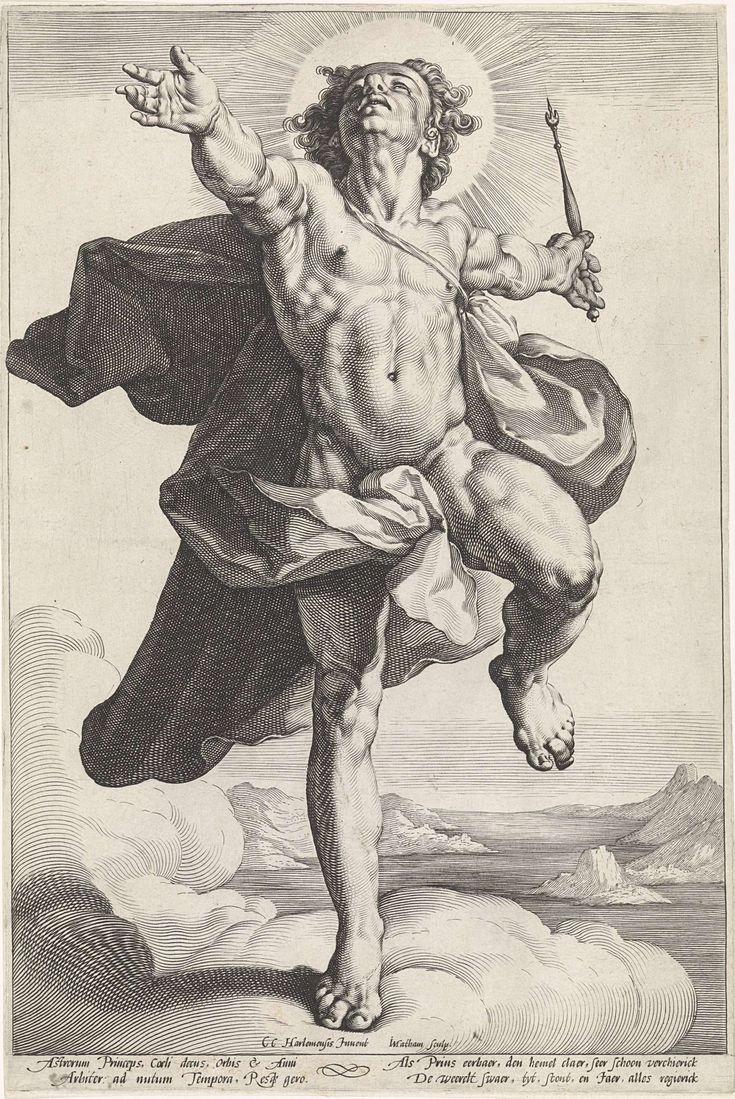 Jacob Matham   Apollo als Helios, Jacob Matham, 1589 - 1593   Apollo als de zonnegod Helios (Sol). Pendant van Diana als de maangodin Luna.