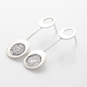 Silver ear rings with paper and nail polish by Rikke Kjelgaard