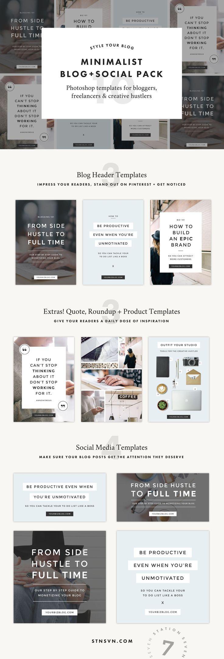 Blog + Social Bundle | Pinterest | Template, Blog and Business
