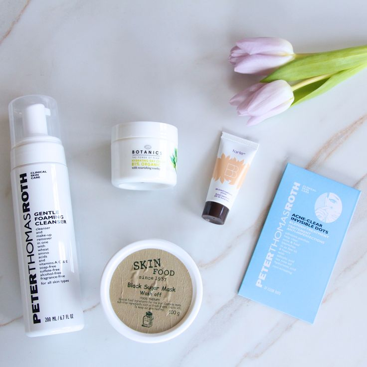 March Beauty Discoveries. Peter Thomas Roth Gentle Foaming Cleanser, Skinfood Black Sugar Mask, Boots Botanics Organic Hydrating Day Cream, Tarte BB Tinted Treatment with SPF 30, Peter Thomas Roth Acne-Clear Invisible Dots