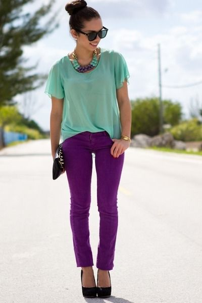 Purple Pants and Mint Blouse. I don't really like the black shoes with it though.. I probably would have done a nude shoe. Very cute color combo though!