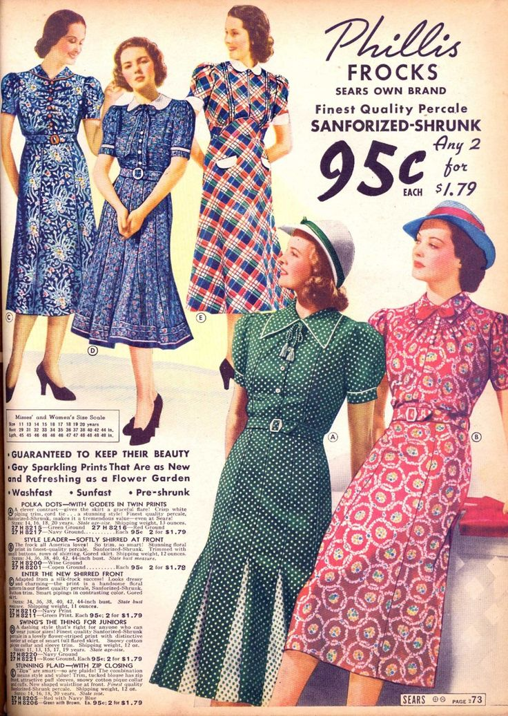 Printed percale dresses from Sears catalog, spring/summer 1938.