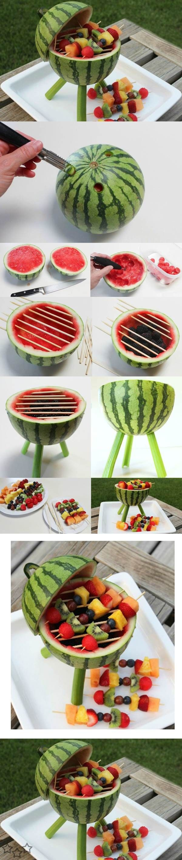 Como hacer una barbacoa con sandia y otras frutas - Javies.com