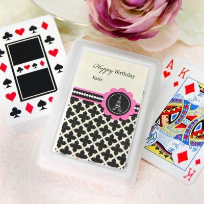 Personalized Paris Birthday Themed Playing Cards http://www.beau-coup.com/birthday/personalized-birthday-themed-playing-cards.htm