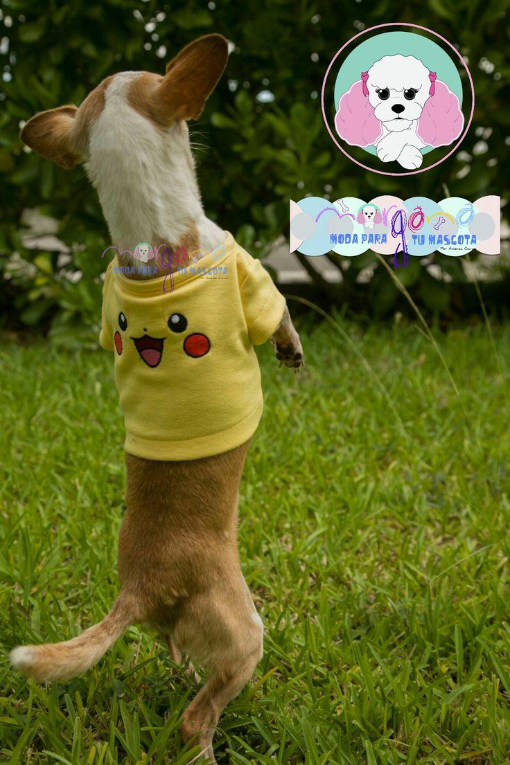 Mascota: Pancho Talla: 2  Estampado y color: Pikachu (amarillo).  Fotografía: Tatiana Rodriguez Diseño: América García