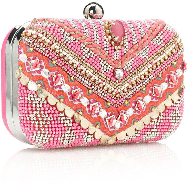 Accessorize Amazing Poppy Beaded Clutch ($88) ❤ liked on Polyvore featuring bags, handbags, clutches, bolsas, pink, purses, neon clutches, beaded clutches, pink handbags and pink purse