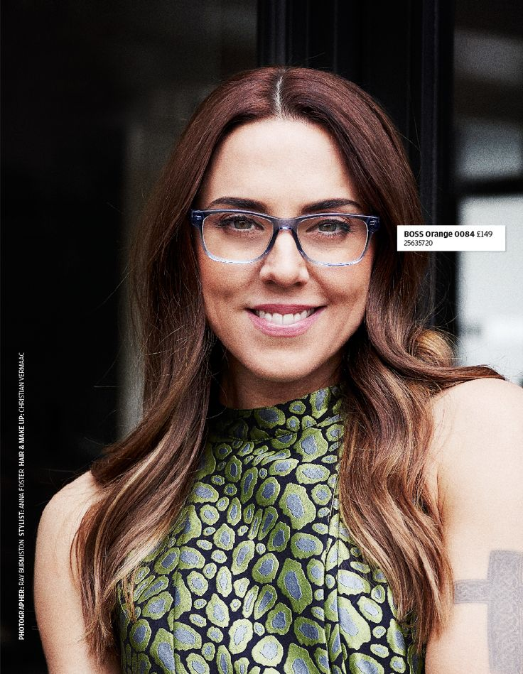Melanie C wears crystal blue acetate glasses by Boss Orange, available at Specsavers.