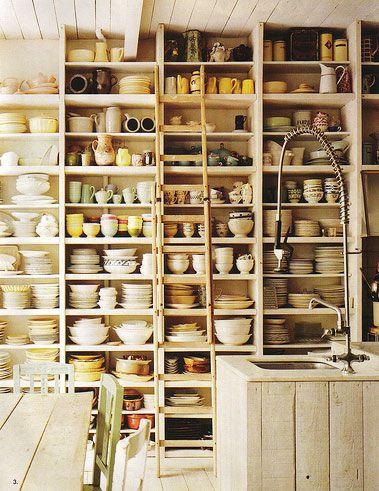 prolific organizationLadder, Kitchens Shelves, Idea, Kitchens Design, Open Shelves, Dreams, Interiors, Pantries, Kitchens Storage