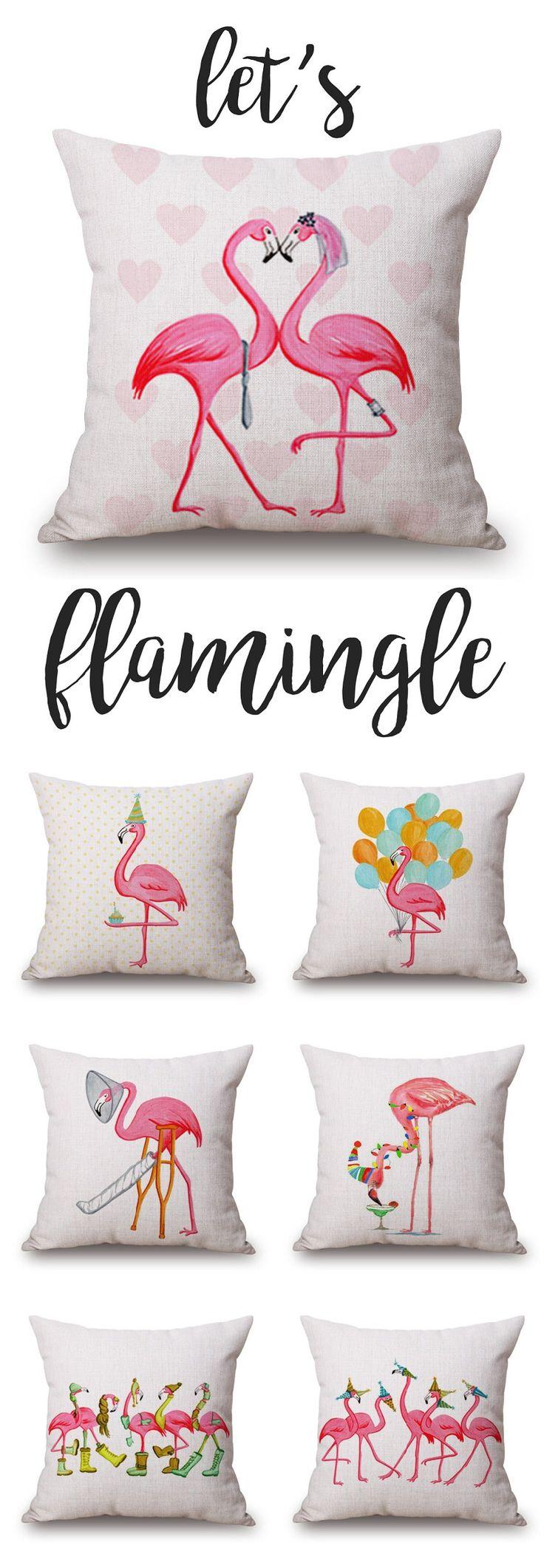 Baby flamingo car interior design - 45x45cm Christmas Flamingo Linen Pillow Case Cushion Cover Bags Home Car Decor