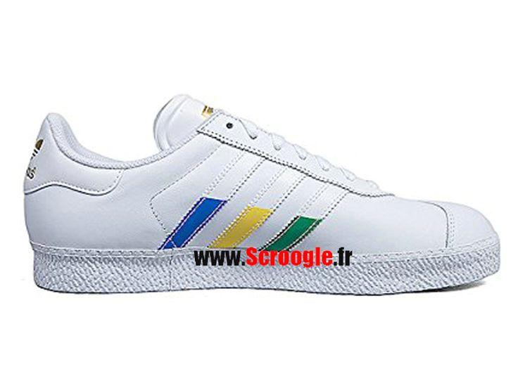 Chaussures de Originals Pas Cher Pour Homme/Femme Adidas Gazelle II Blanc Multicolore G97298