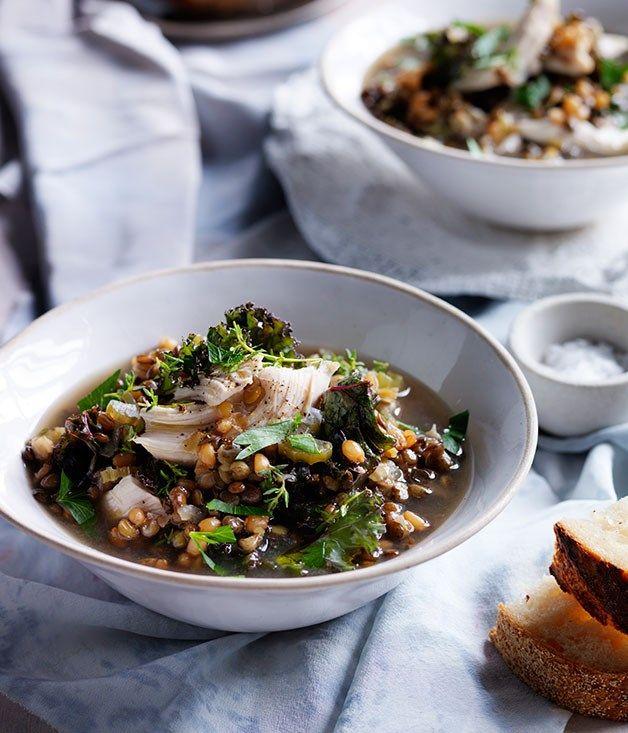 Australian Gourmet Traveller recipe for chicken, lentil and kale soup.