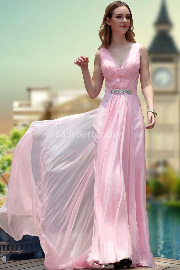 Pleated Pink Chiffon Sexy Deep V-neck Long Homecoming Dress