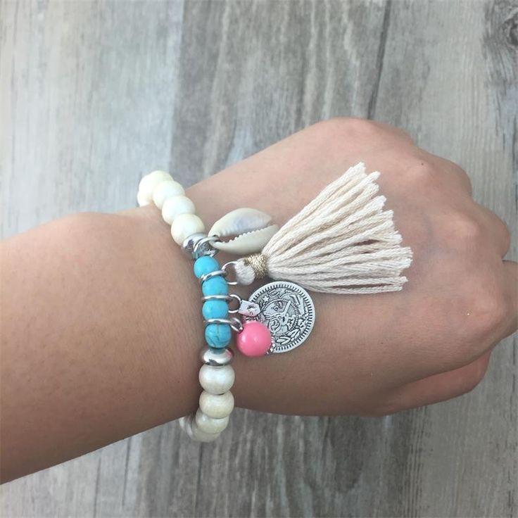 NEW Bohemian Beads Shell Tassel Charm Yoga Bracelet Bracelet Body Kingdom Shop