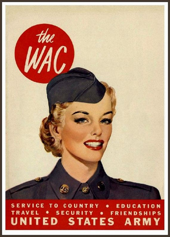 Art Print US Army WAC Advert Print 1943 World War II 8 x 10
