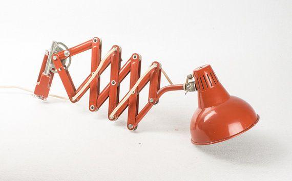RESERVED Vintage Scissor Desk Lamp / Wall Lamp / Industrial Workshop Light / Retro Light / Brick Orange  / Mid Century 50s Lamp / Rare