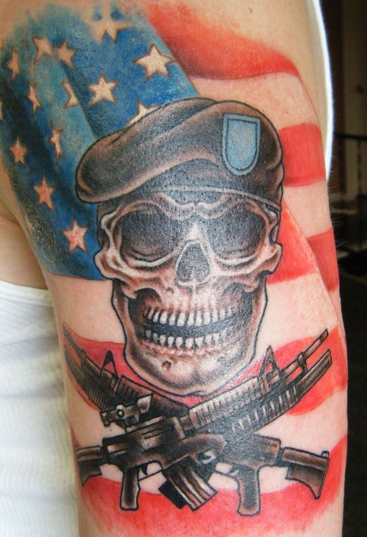 Route 66 tattoo picture at checkoutmyink com - Soldier Skull With Two Crossing Guns Tattoo Design For Half Sleeve