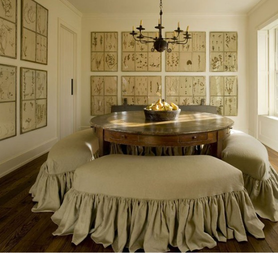 pamela pierceDecor, Dining Rooms, Ideas, Full Skirts, Benches, Pam Piercing, Dining Room Wall, Round Tables, Dining Tables