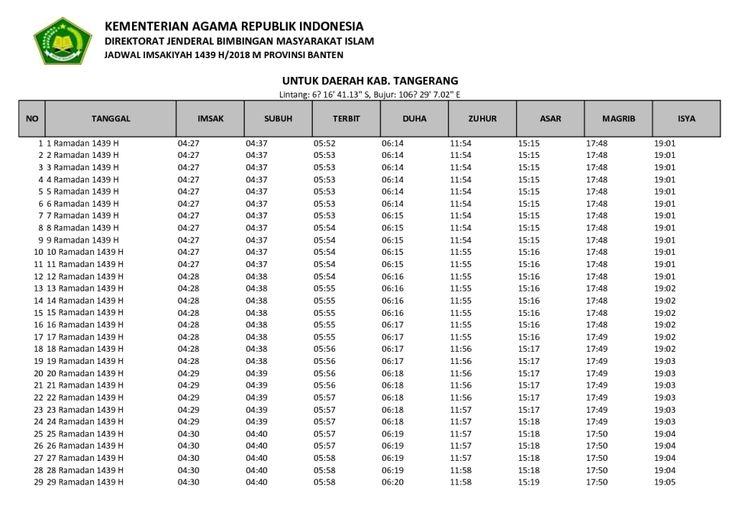 Jadwal Imsyakiyah 1439