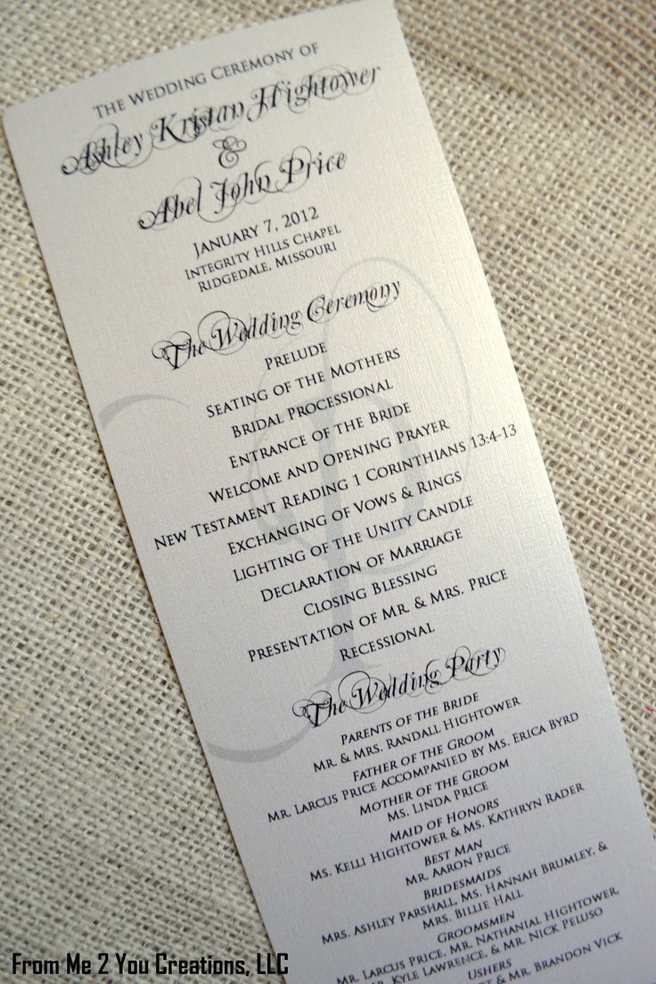 SAMPLE: Elegant Wedding Program, 4x10 Metallic Ecru Cream
