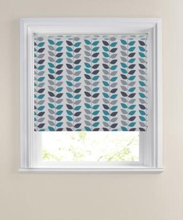 Bathroom colour idea teal-Winter Laurel Made To Measure Patterned Roller Blind