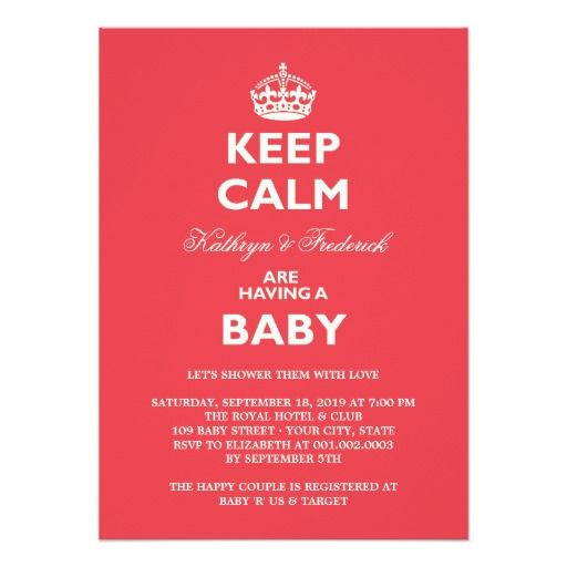 keep calm funny couples baby shower party invite