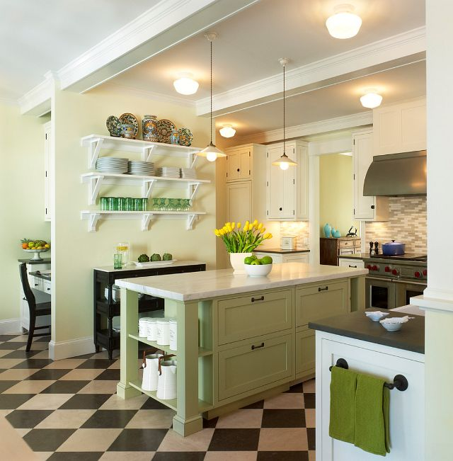 diamond floor - white cabinets - focal color