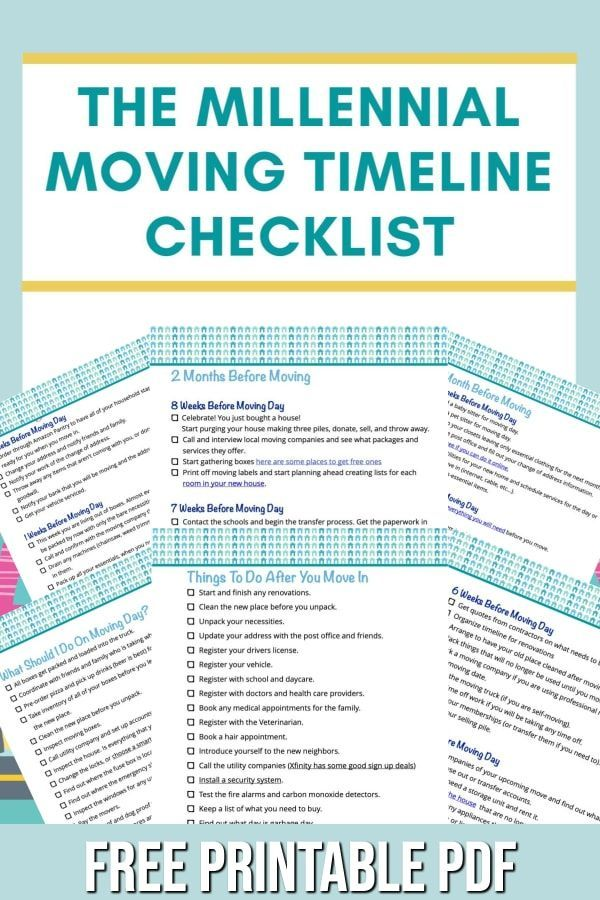Moving Timeline Checklist For How To Prepare For A Move Millennial Homeowner Moving Timeline Moving Timeline Checklist Moving Packing Lists