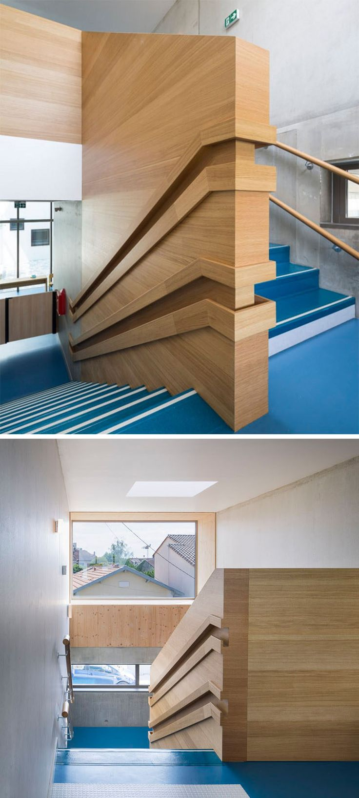 Stair Design Idea - 9 Examples Of Built-In Handrails // These dual handrails in a day care have been built into the wood wall, making sure both the children and the adults have a space to hold on to.
