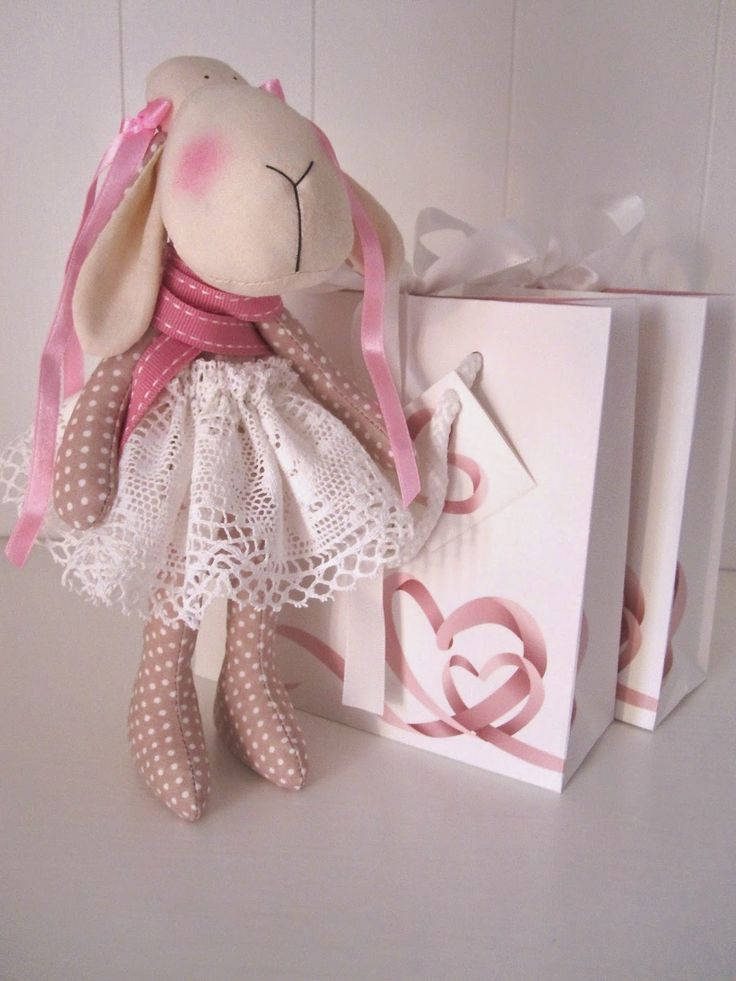 """vintage lace blush pink Tilda sheep Easter toy owieczka """"created by BB'"""