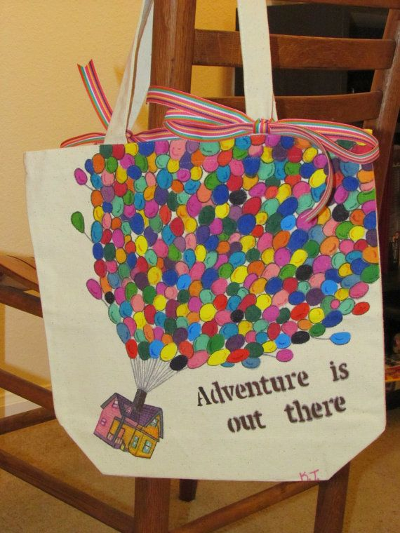 "Handpainted Disney Pixar ""Up"" tote bag. I want it so badly."