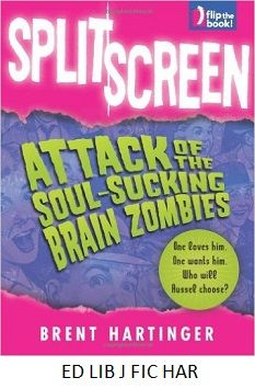 Split Screen: Attack of the soul-sucking brain zombies - by Brent Hartinger. Two books in one tell of sixteen-year-old friends Russel, who is gay, and Min, who is bisexual, as they face separate romantic troubles while working as extras on the set of a horror movie.