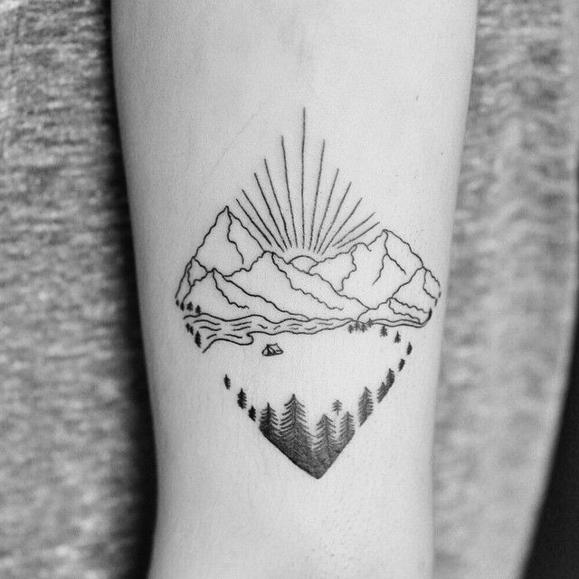 """Wilderness tattoo for Jessica!""  But alouette lake style."