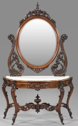 "Victorian Rococo Revival Rosewood And Marble Top Duchesse, Oval Mirror With Pierced And Floral-Carved Harp, The Base Retaining Its Original ""Dished"" White Marble Top, Raised On Cabriole Legs With Floral-Carve Knees, Attributed To Alexander Roux - New York   c.1850-1875  -  Prices4Antiques"