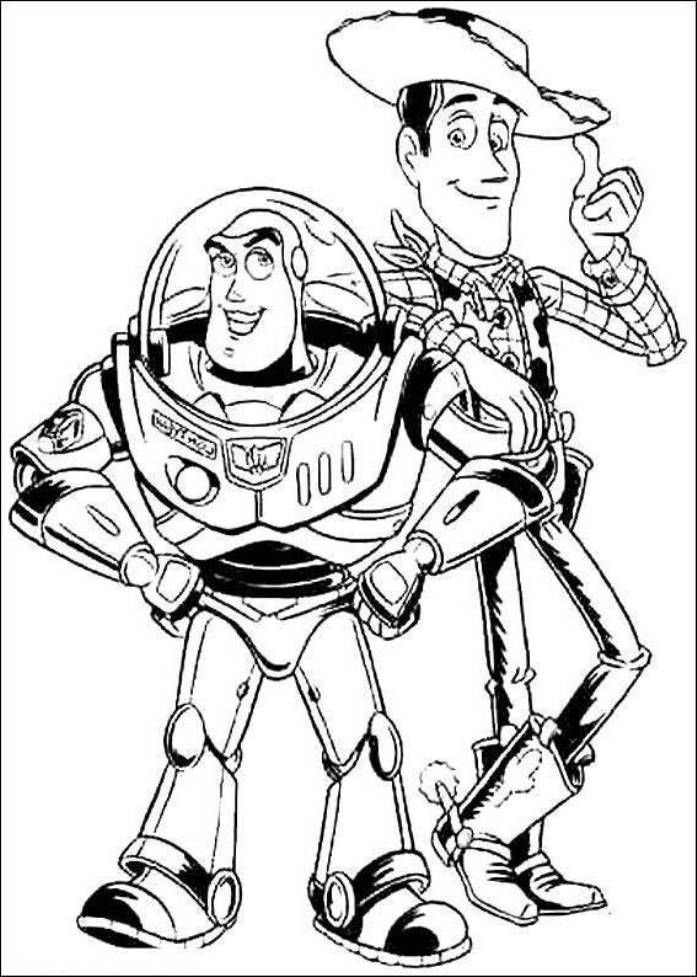 Print Buzz Lightyear And Woody Sheriff Toy Story Coloring Pages Or