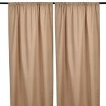 "Blackout Tan Curtain at Kirkland's - pair $19.99 84"" - add fabric at bottom to get some length"