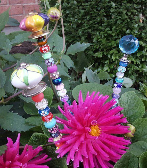 Decorative Garden Plant Stakes Bling Fairy Wand Etsy Glass