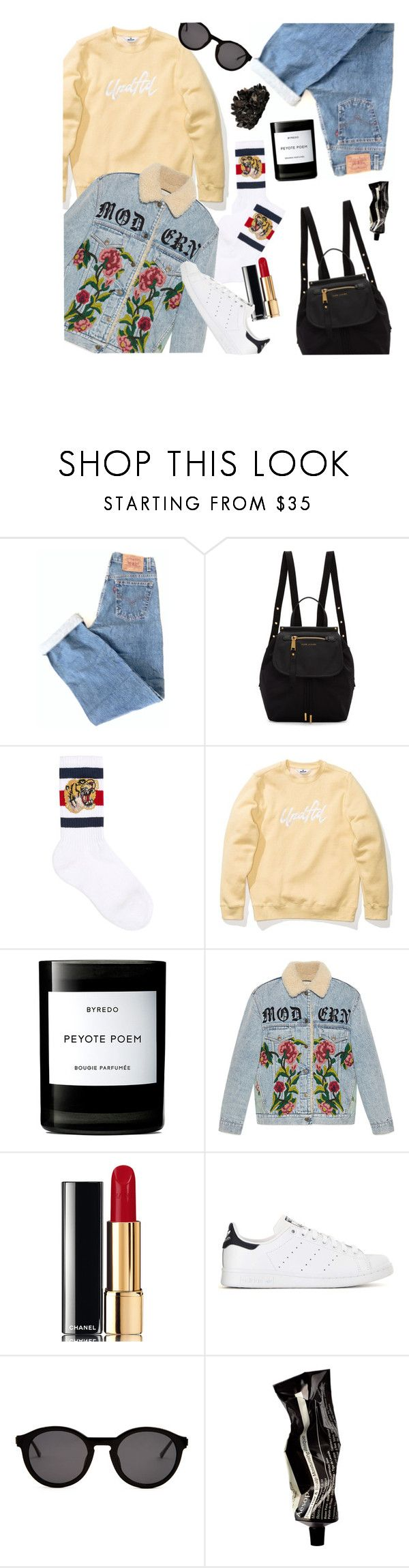 """""""Comfortable Everday Streetstyle!"""" by pricklypear ❤ liked on Polyvore featuring Levi's, Marc Jacobs, Gucci, Byredo, Chanel, adidas, Thierry Lasry, Aesop, McCoy Design and vintage"""