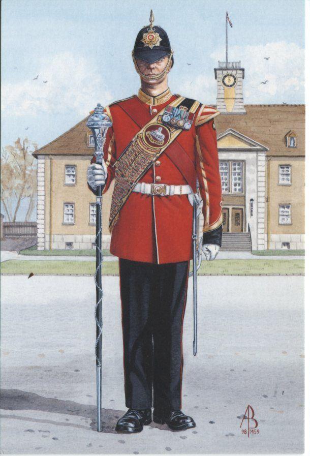Alix Baker Postcard - AB29/4 Drum Major, 2nd Battalion, The Royal Anglian Regiment, Celle 1995
