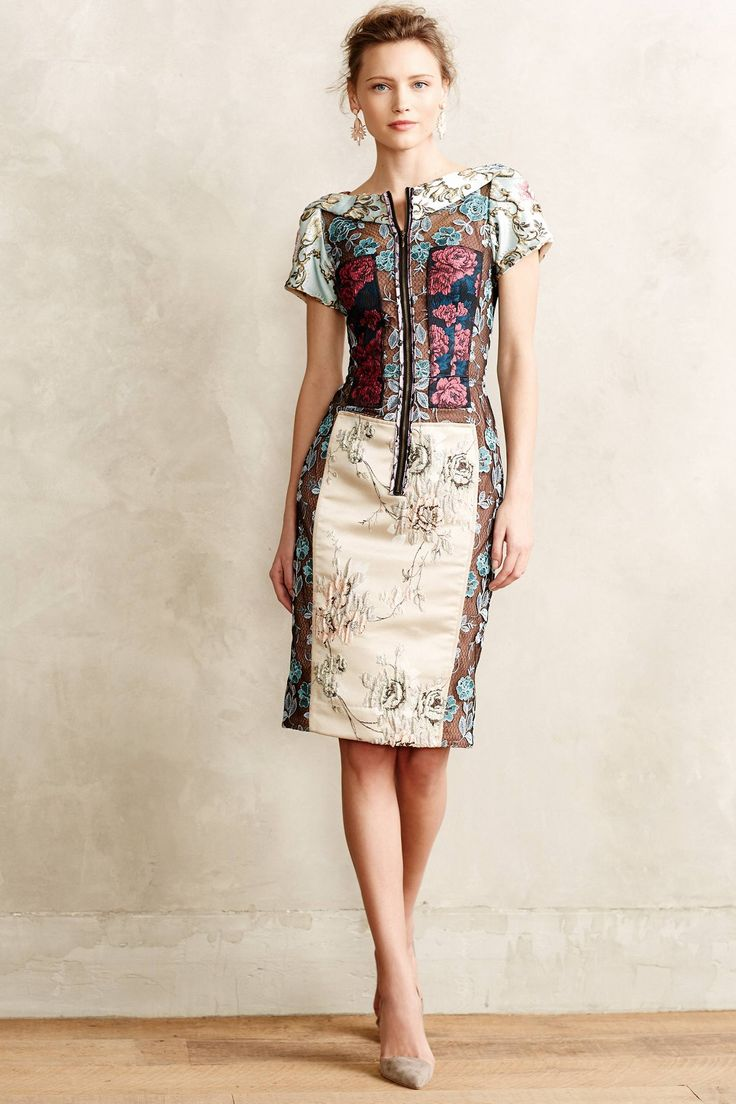 Pieced Brocade Dress - anthropologie.com - I'd likely never wear this look but it is stunning.