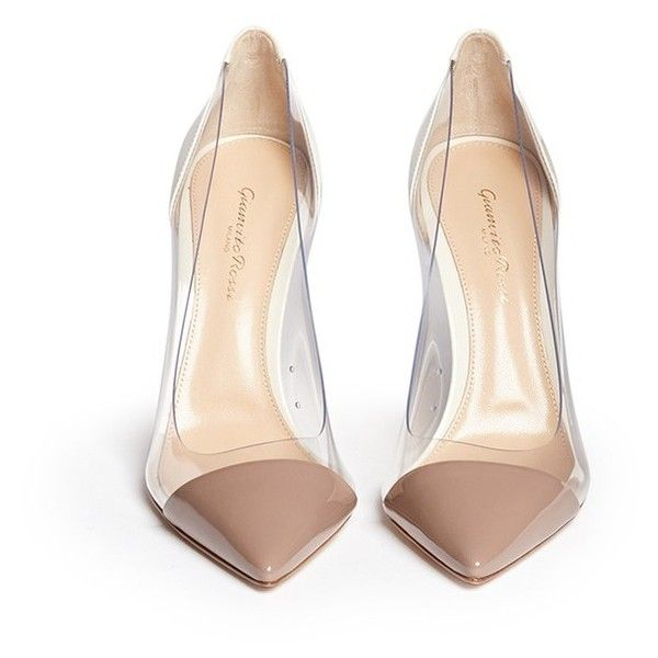 Gianvito Rossi 'Plexi' clear PVC patent leather pumps ($785) ❤ liked on Polyvore featuring shoes, pumps, heels, heels & pumps, block heel shoes, clear pumps, patent shoes and clear lucite shoes