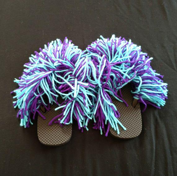 Fluffy Flip Flops - Fuzzy Flip Flops - Sandals - Monster Flip Flops - Bedroom Slippers - House Slippers (Black Base- Turqua and Amethyst) by LoomKnittedHats #etsy #etsyseller #loomknittedhats #shopping #acrylicyarn #cottonyarn