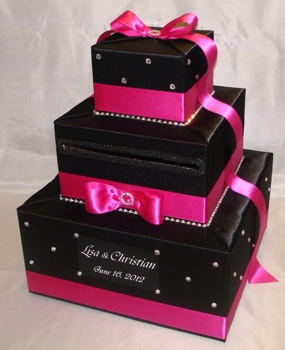 Elegant Custom Made Wedding Card Box Rhinestone Accents