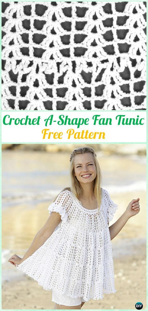 Crochet A-Shape Fan Tunic Free Pattern - #Crochet; Women Pullover Sweater #Top Free Patterns