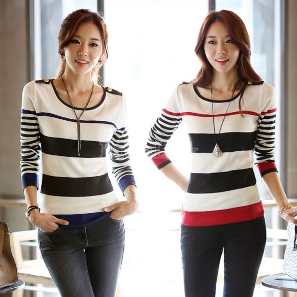 Women's Korean Style Fashion Casual Long Sleeve Stripe Thin Sweater