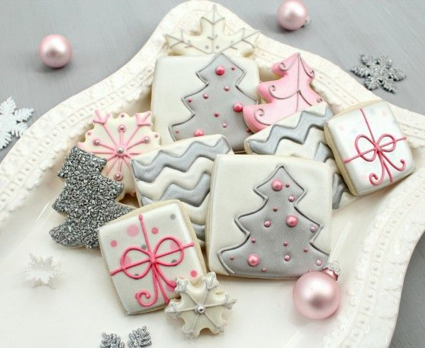 Christmas cookies: Silver Christmas, Xmas Cookies, Sugar Cookies, Pink Christmas, Christmas Cookies, Holidays Cookies, Modern Christmas, Cookies Decoration, Decoration Cookies