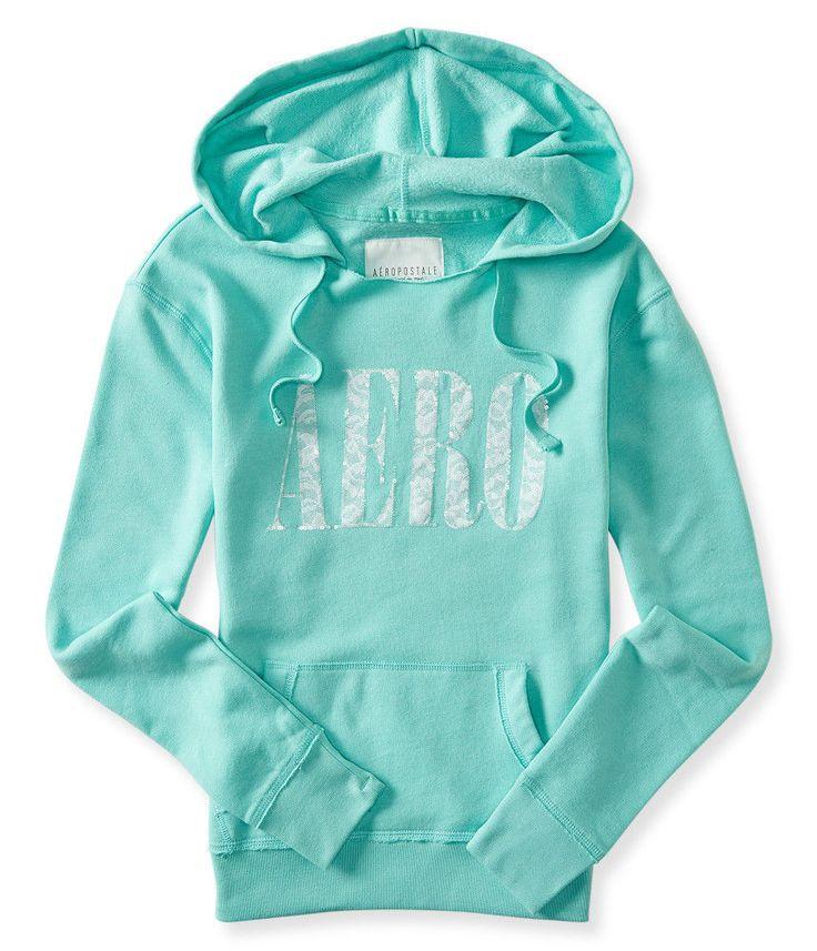 aeropostale Pullover Long Sleeve Full Zip womens MINT lace popover hoodie XL #Aeropostale #Hoodie