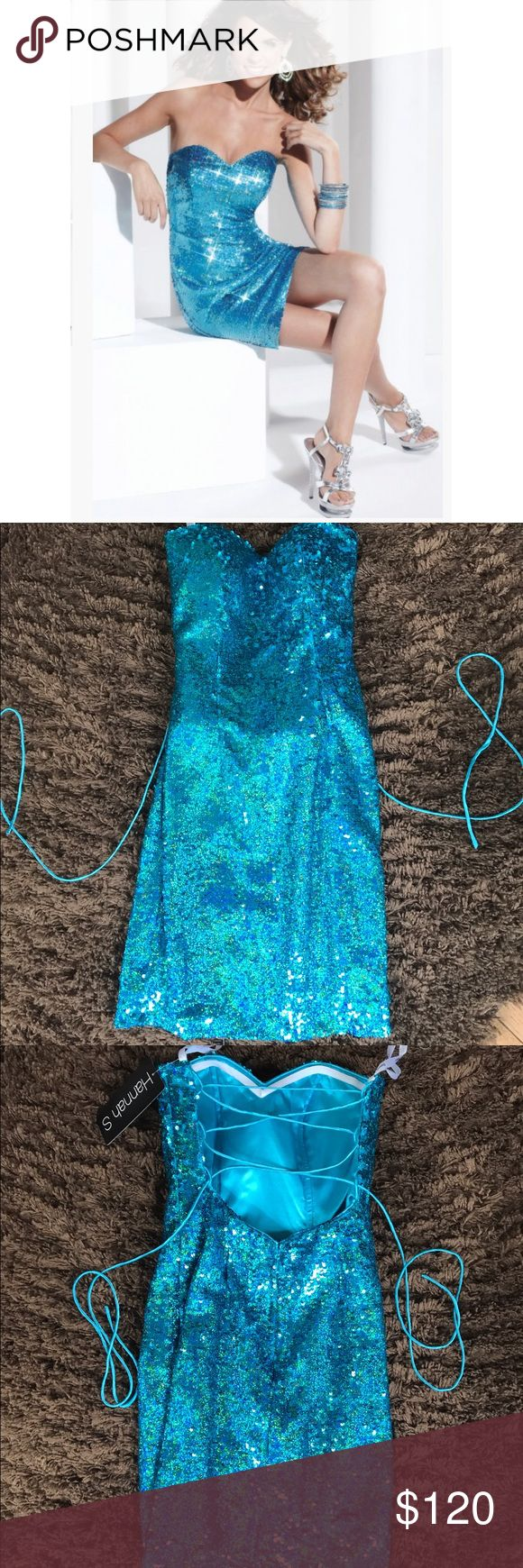 NWT! Hannah S blue sparkle short dress Hannah S sparkly blue formal dress! Size 0. NEVER WORN, still has tags attached, and in original bag. ••Shine all night in this ravishing cocktail dress by Hannah S 27771. The strapless sweetheart neckline starts this glittering style off right. Body conscious and designed to show off your curves, this fantastic dress is covered in shimmering sequin embellishments and meets above the knee. Has NO jewels missing, marks, and has NO flaws! Would love to…