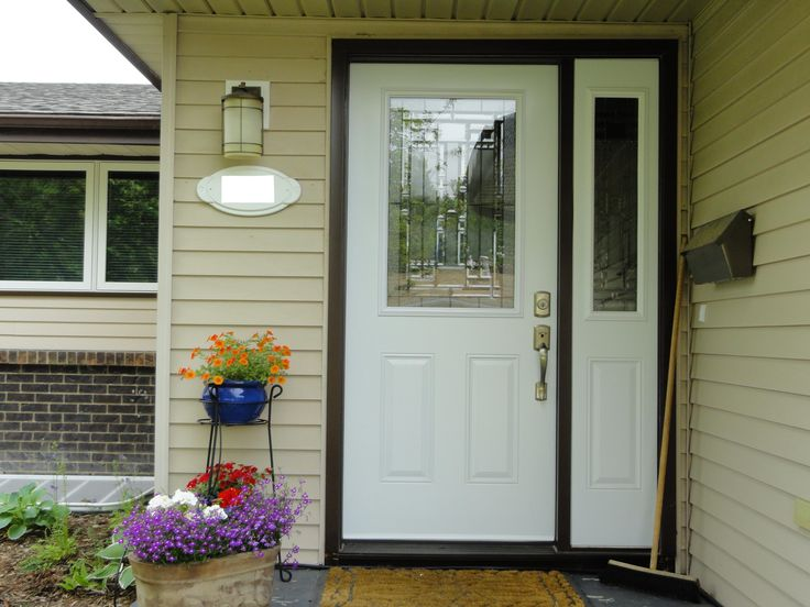 Naples glass insert by masonite white coloured single entry door with one sidelite doors Exterior doors installation calgary