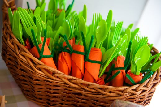 Carrot napkins and utensils